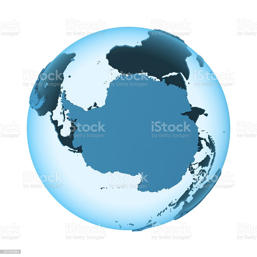 Antarctica on translucent Earth stock photo