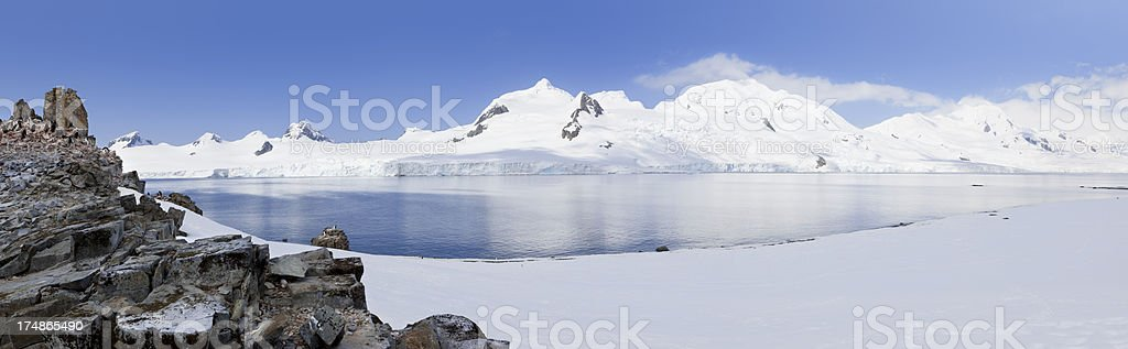 Antarctica panorama of Halfmoon Island stock photo