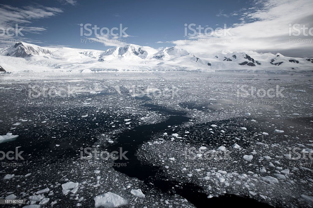 Antarctica Peninsula Path in the floating Ice royalty-free stock photo