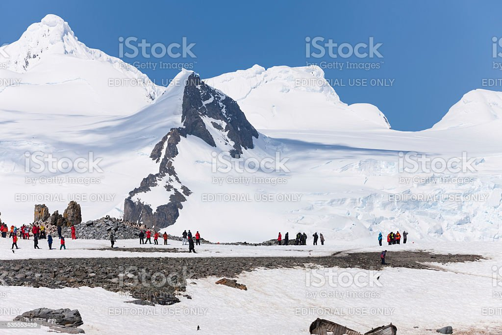 Antarctica tourists on Half Moon Island stock photo