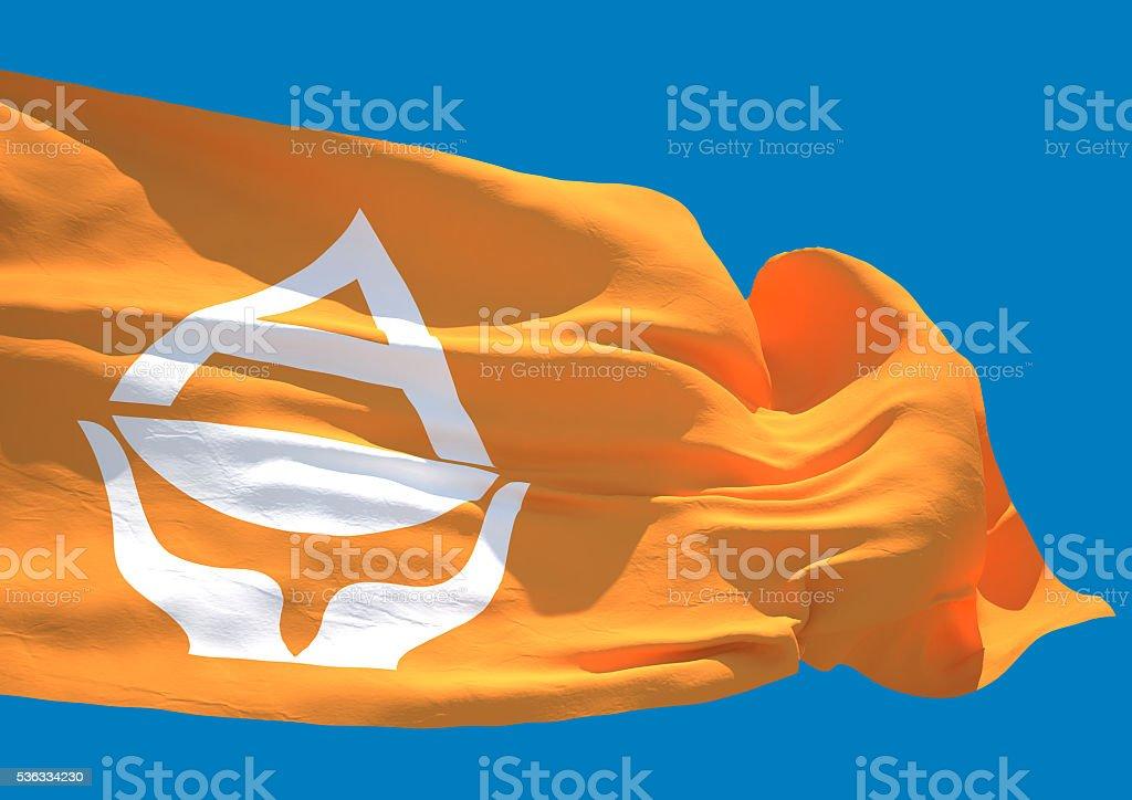 Antarctica wave flag HD stock photo