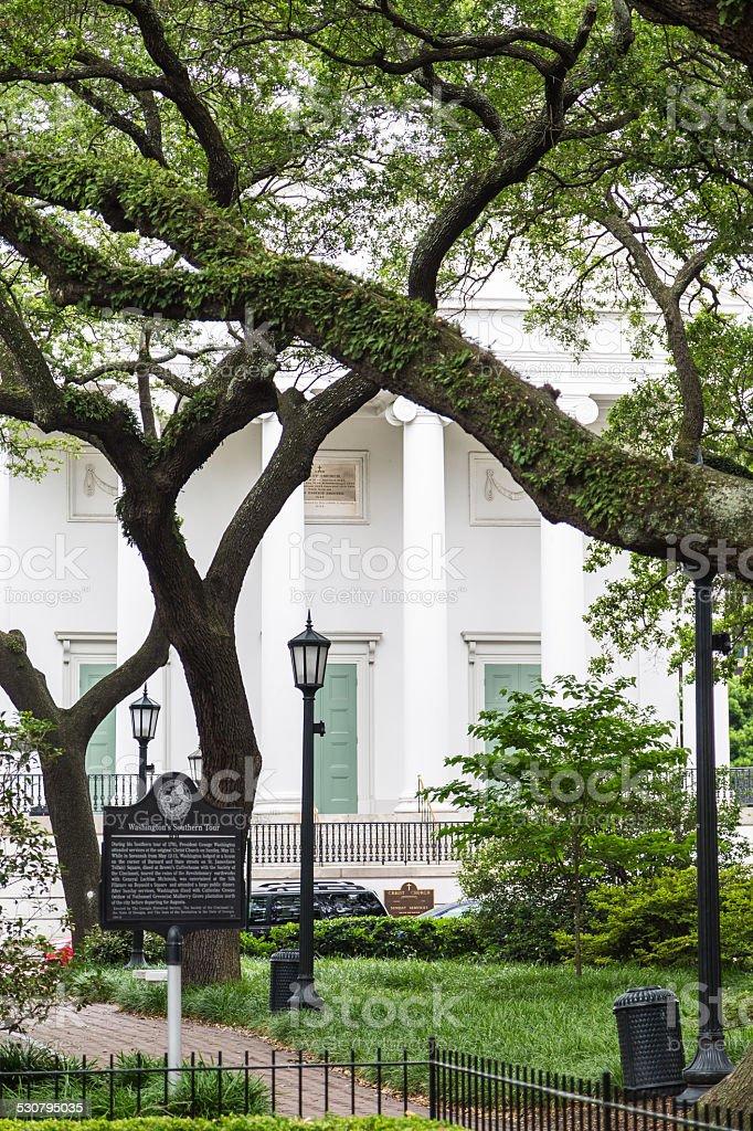 Antebellum Home Behind Revolutionary Park stock photo