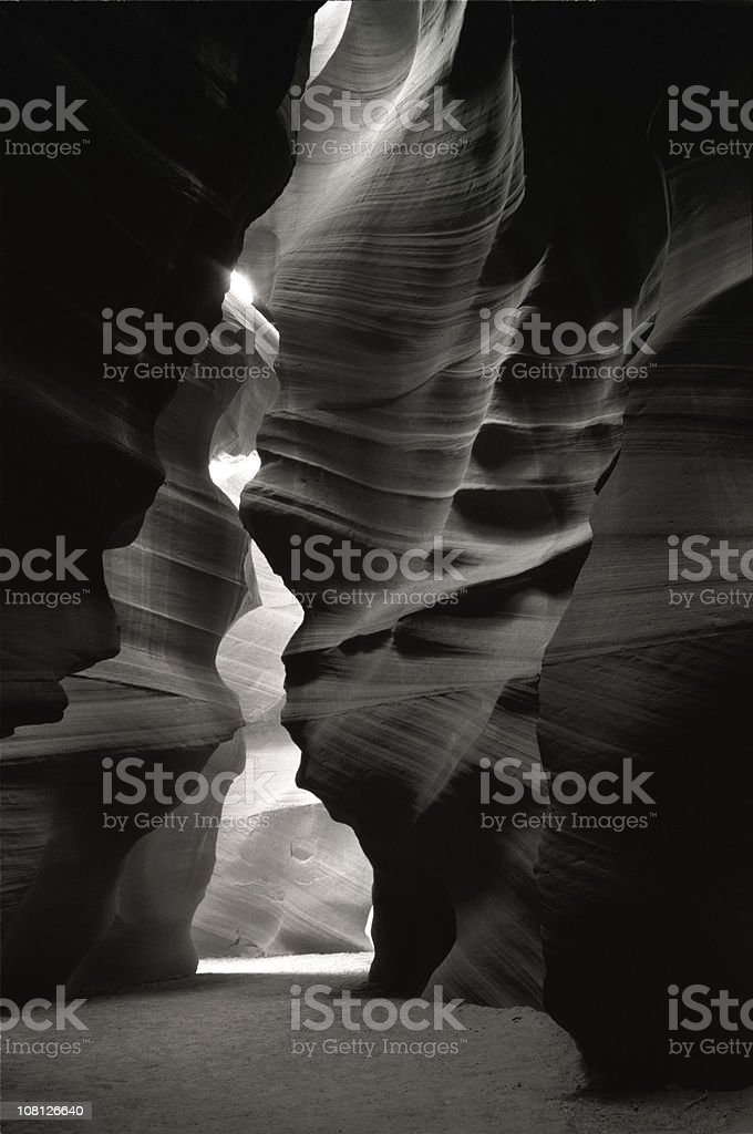 Antelope Canyon Sandstone Walls, Black and White stock photo