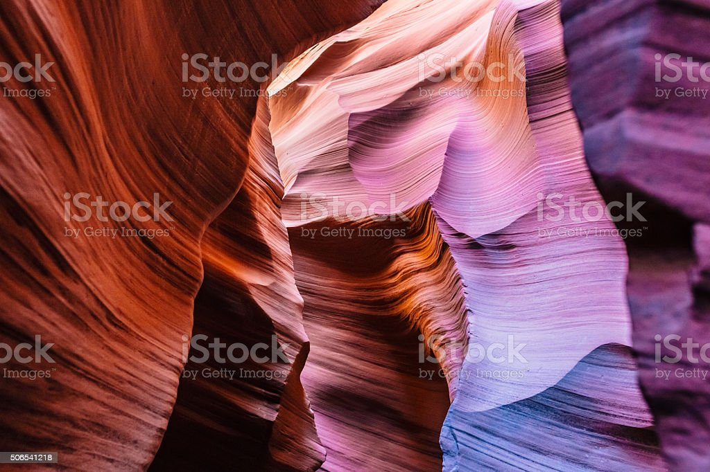 Antelope Canyon spiral rock arches shapes and colors stock photo