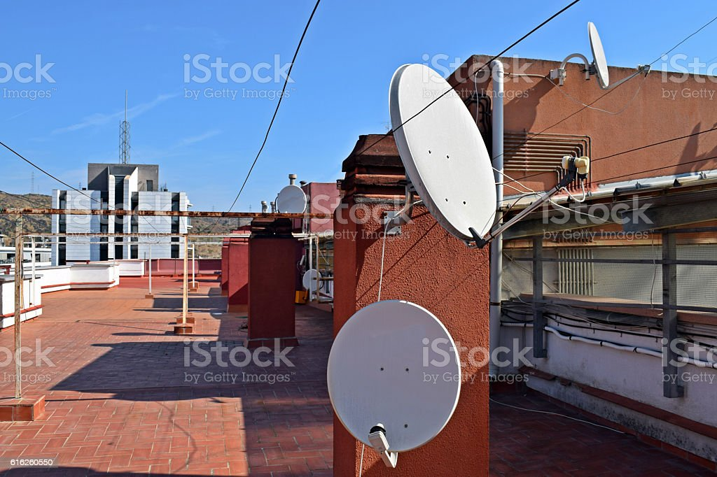 antenas, tejados, azoteas, terrados, parabolicas, stock photo