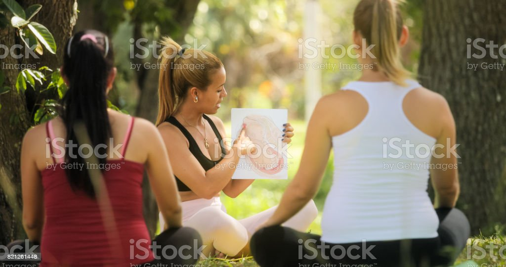 Antenatal Class With Teacher And Pregnant Women stock photo