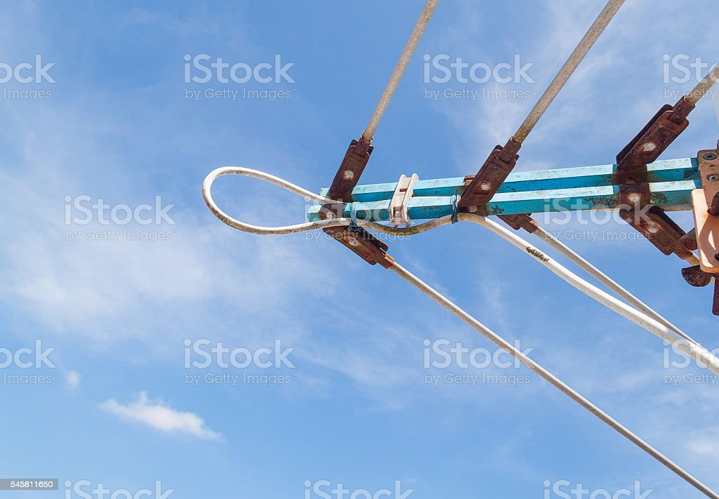 TV antenna, An old television against stock photo