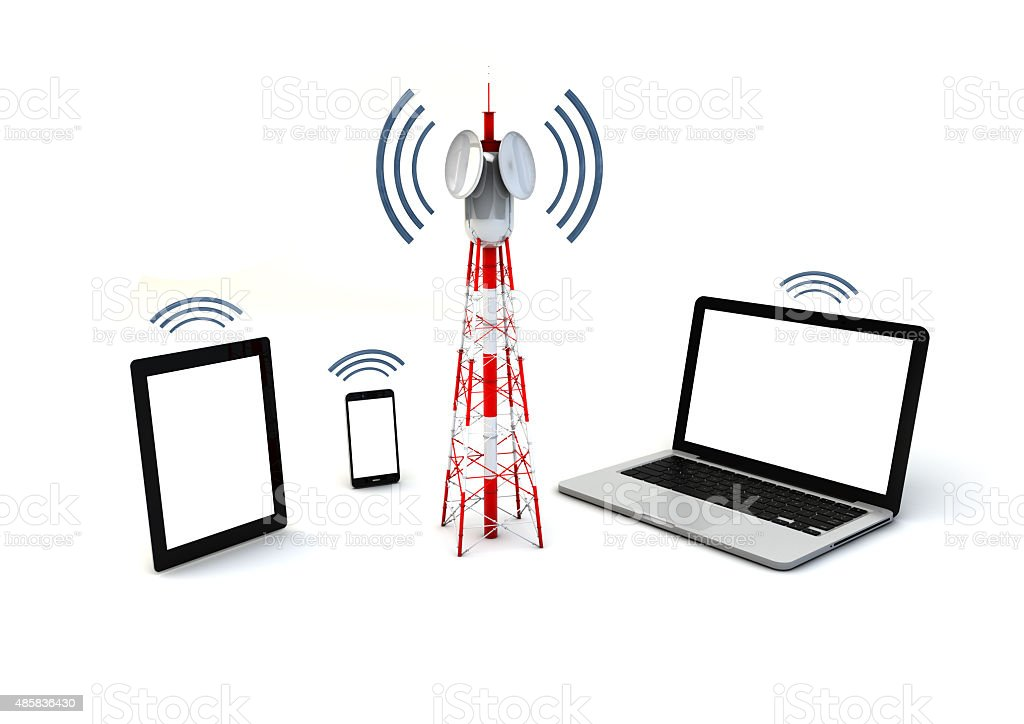 antenna and mobile devices stock photo