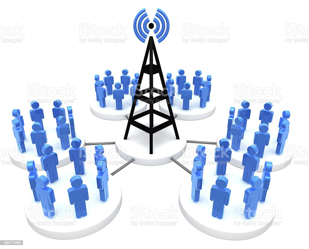 Antenna and social networks royalty-free stock photo