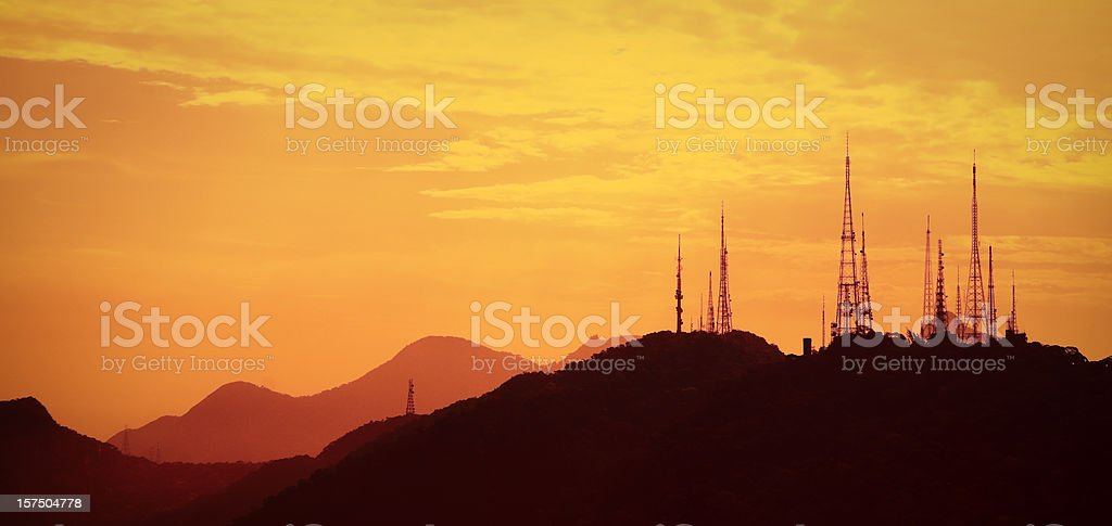 Antenna array at sunset, Rio de Janeiro, Brazil, copy space stock photo