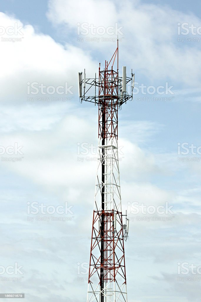 Antenna array telephone and mobile on blue sky. royalty-free stock photo