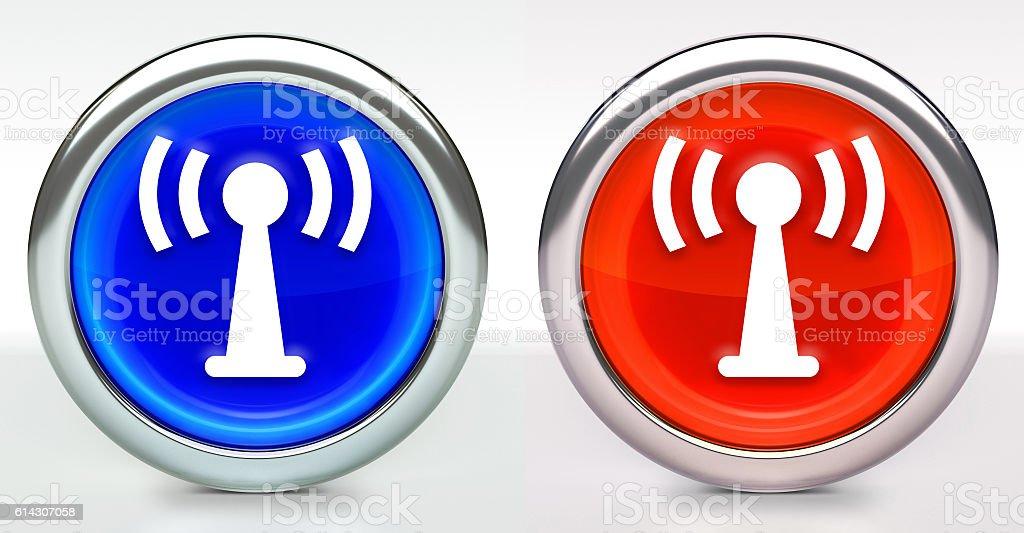 Antenna Connection Icon on Button with Metallic Rim stock photo