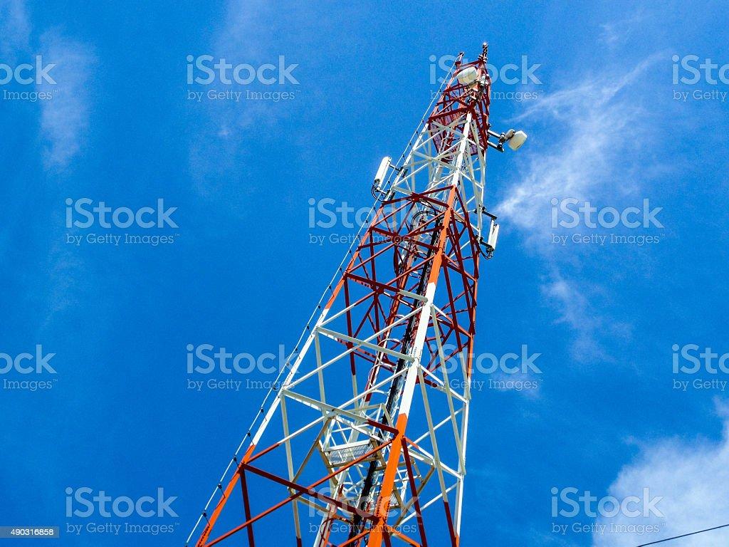 antenna  in blue sky stock photo