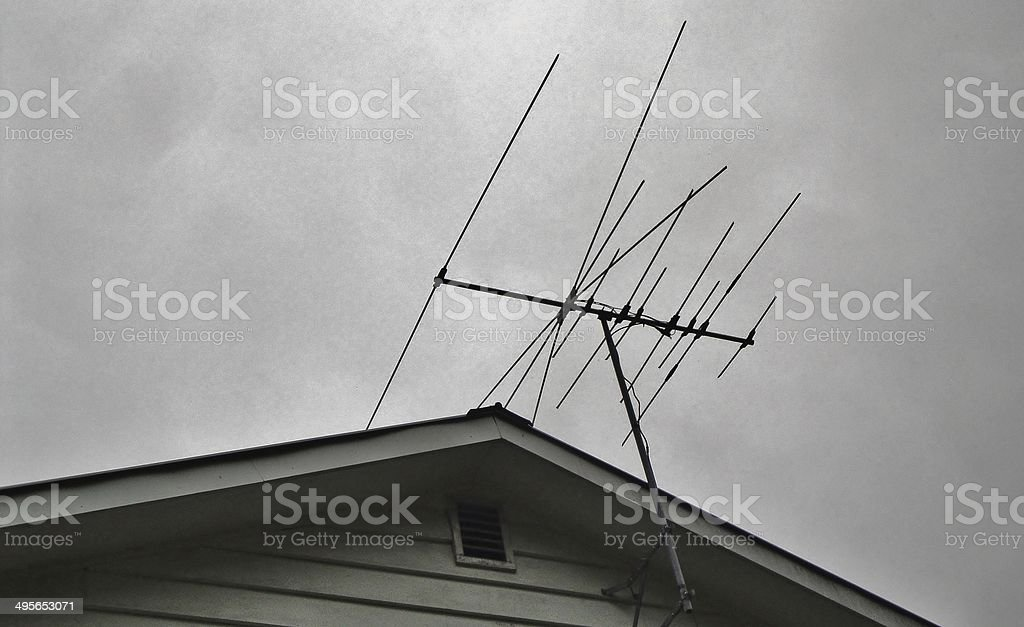 Antenna on rooftop stock photo