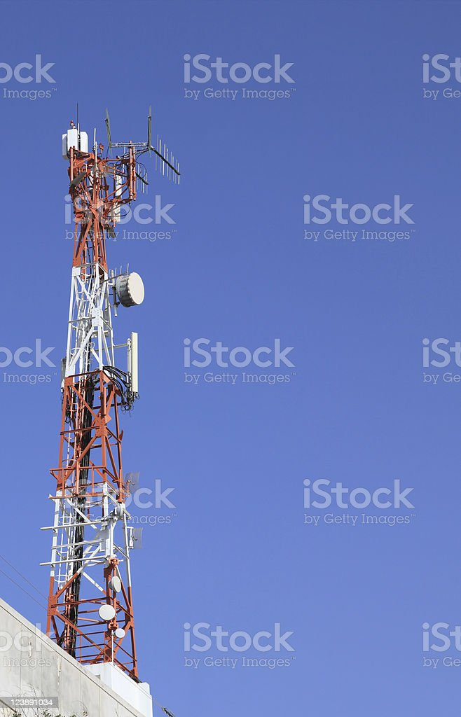 Antenna on skyline stock photo