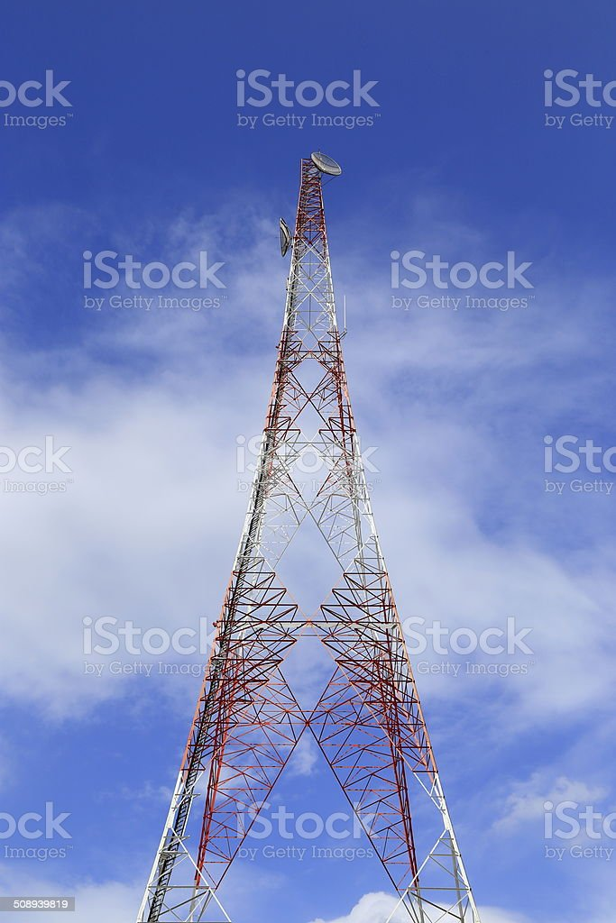 Antenna on the blue sky stock photo