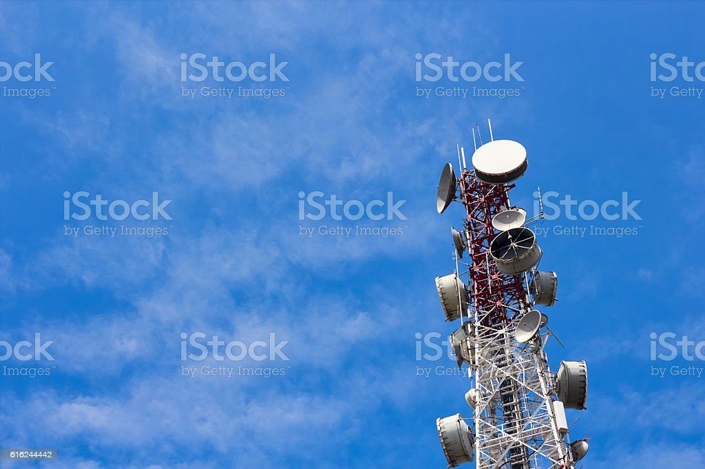 Antenna on transmission tower stock photo