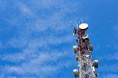 Antenna on transmission tower