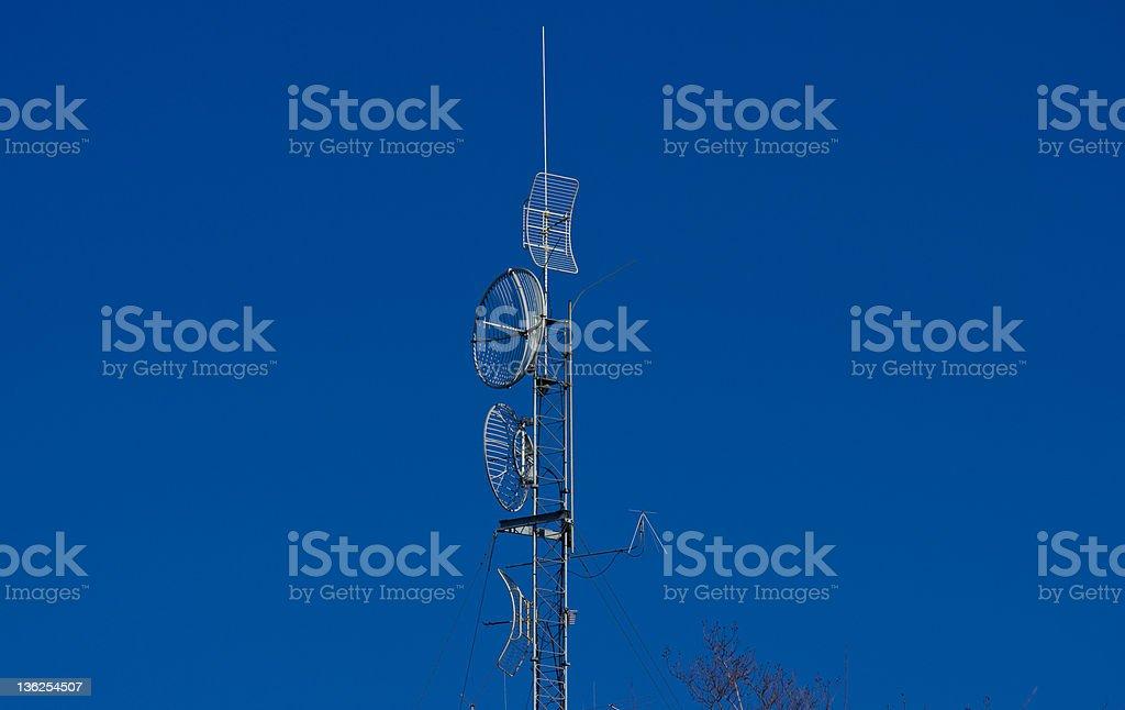 Antenna over Radio Station stock photo