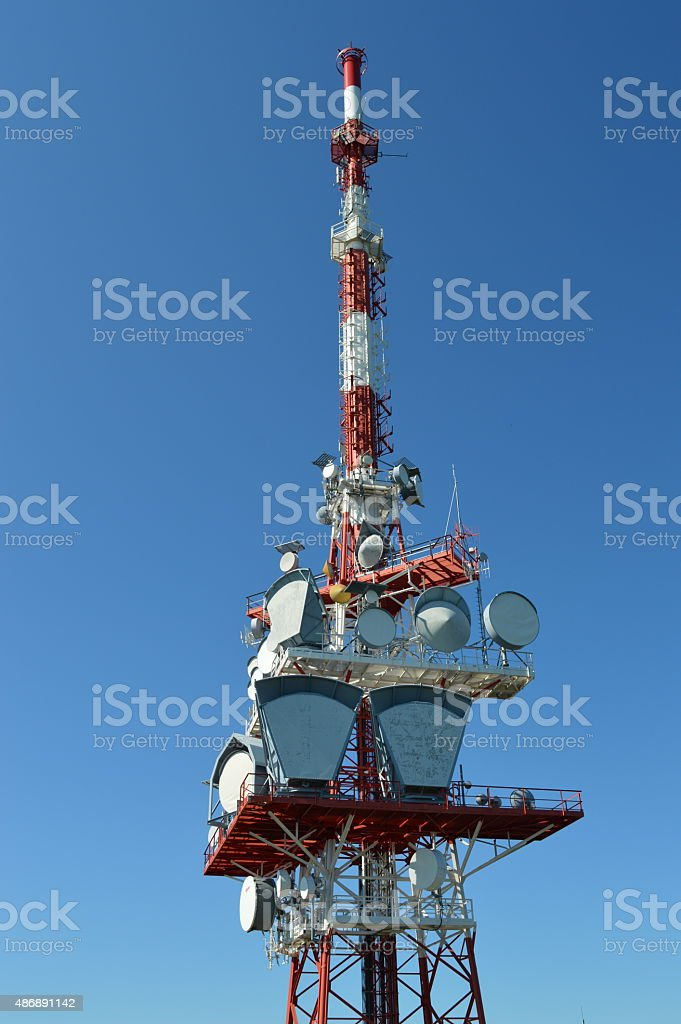 Antenna Pf?nder Mountain, Austria stock photo