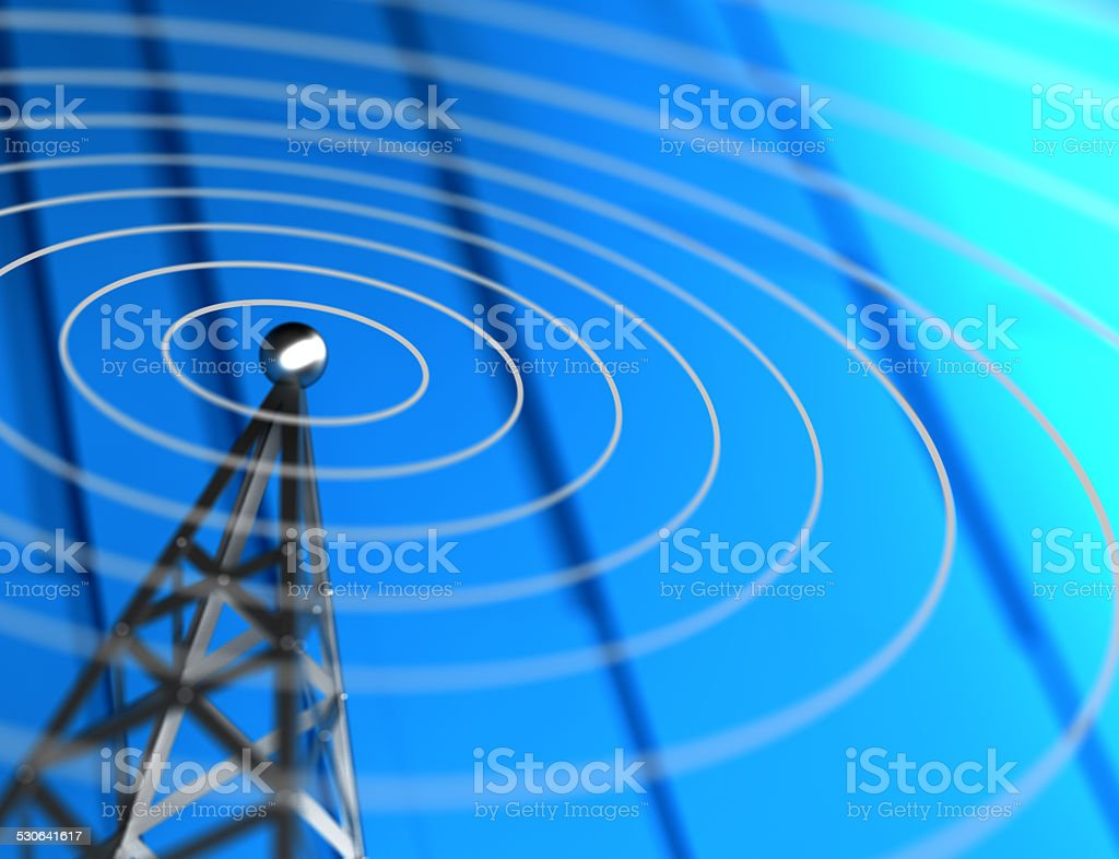 Antenna sending waves stock photo