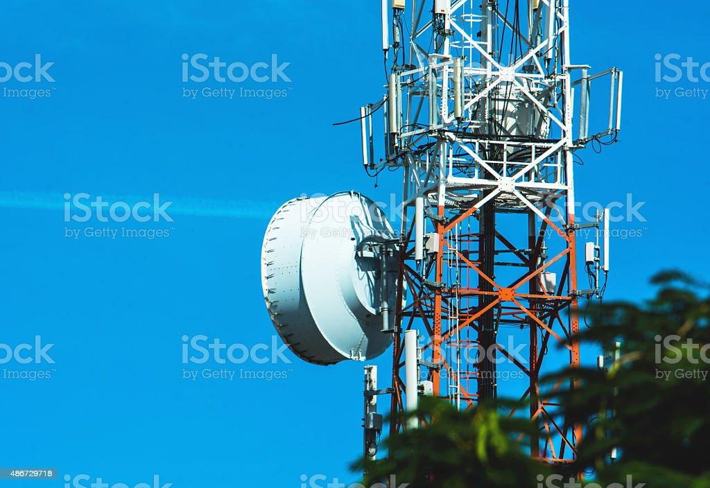 Antenna  tower on blue sky stock photo