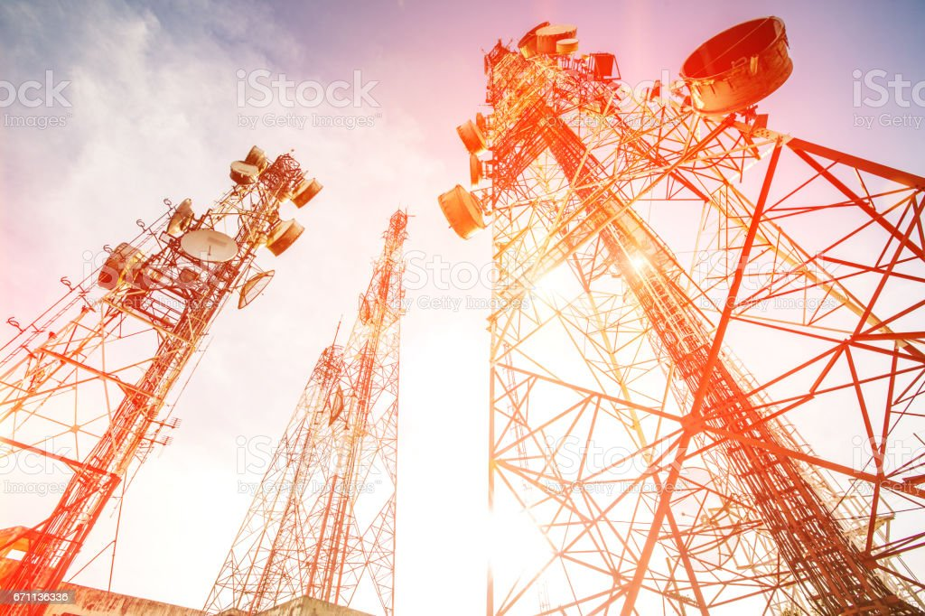 Antenna tower on sunrise time with sky background stock photo