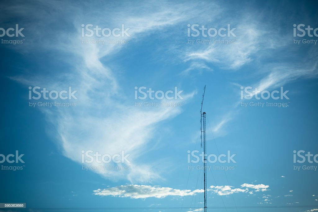 TV antenna with a bright sky stock photo