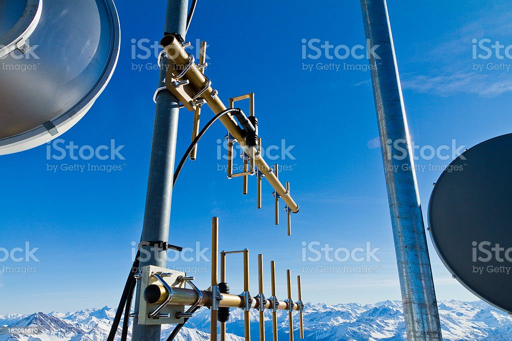 Antennas and weather stations stock photo
