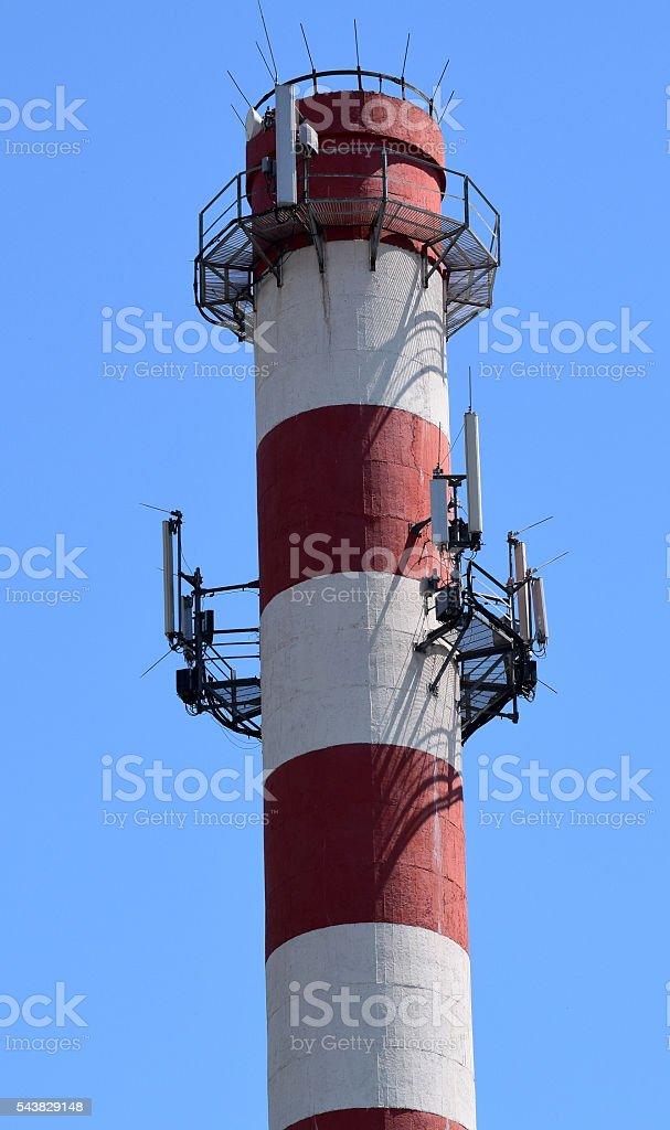 antennas for communications on  large chimney stock photo
