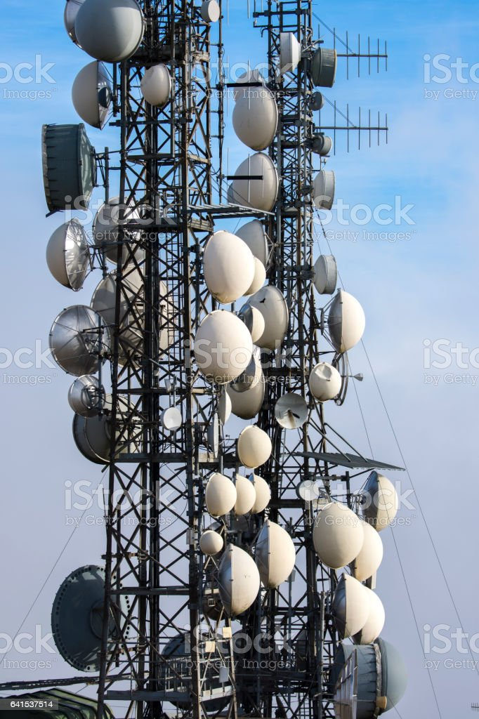 antennas for television broadcasting stock photo