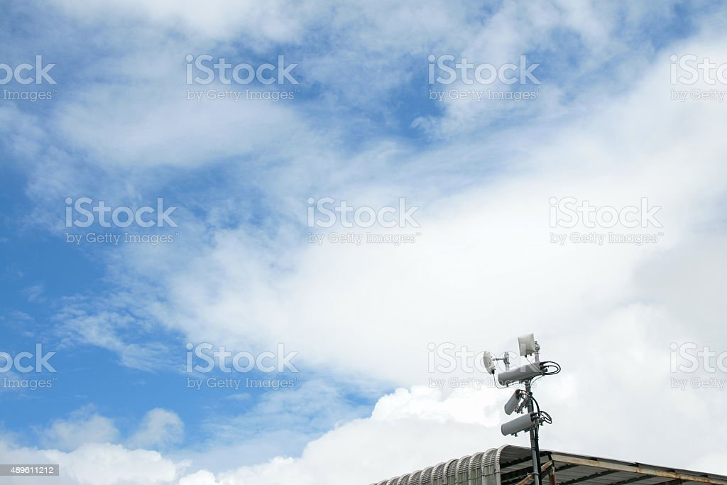 Antennas of mobile cellular systems with wifi hot spot repeater stock photo