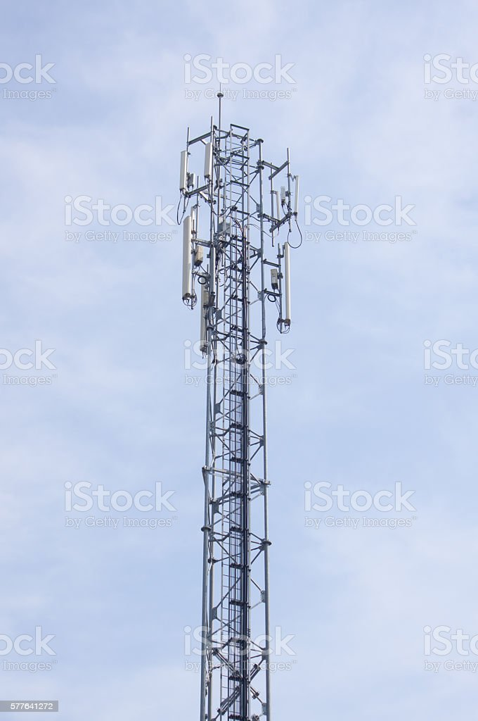 Antennas on mobile network tower. Global system for mobile communications. stock photo