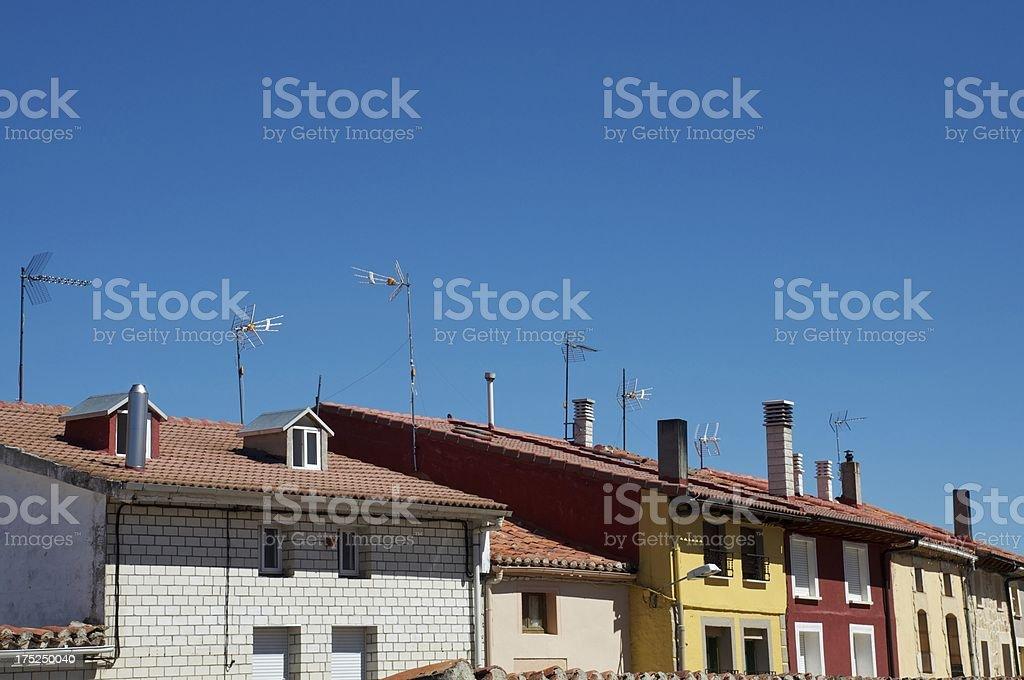 TV antennas on roofs stock photo
