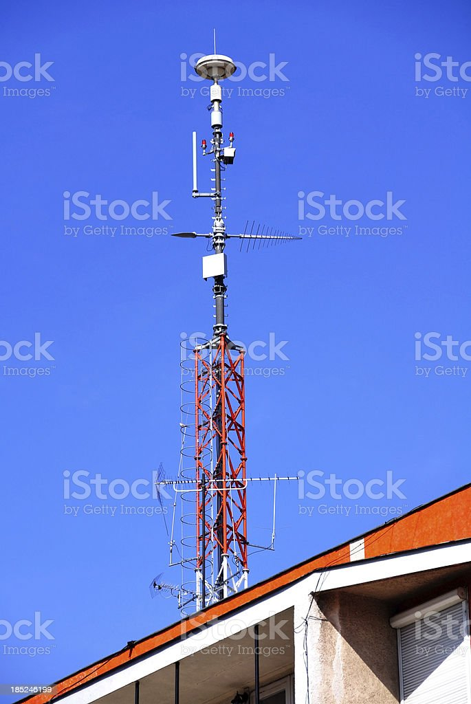 antennas on the roof royalty-free stock photo
