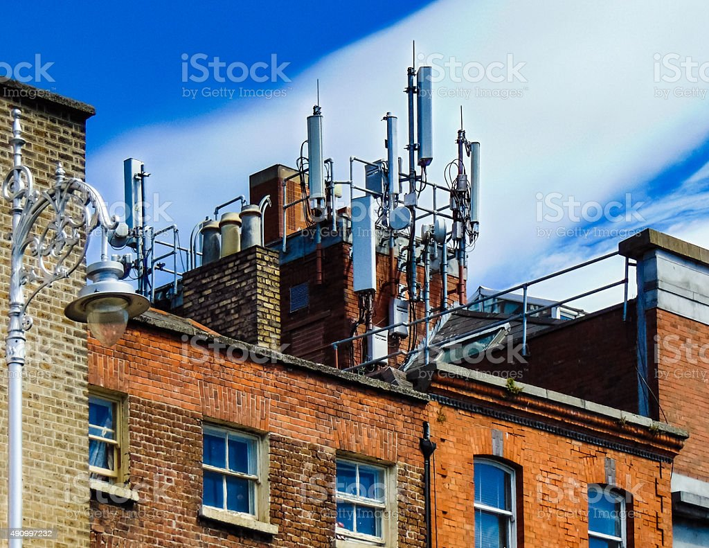 Antennas on the roof stock photo