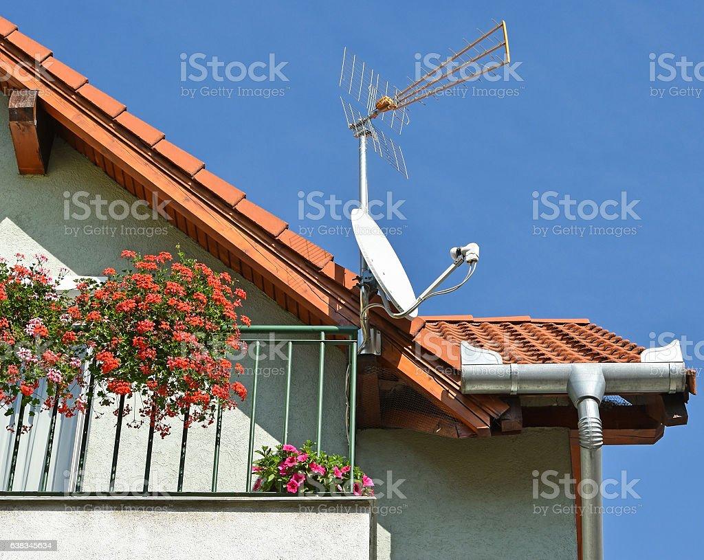 Antennas on the roof stock photo
