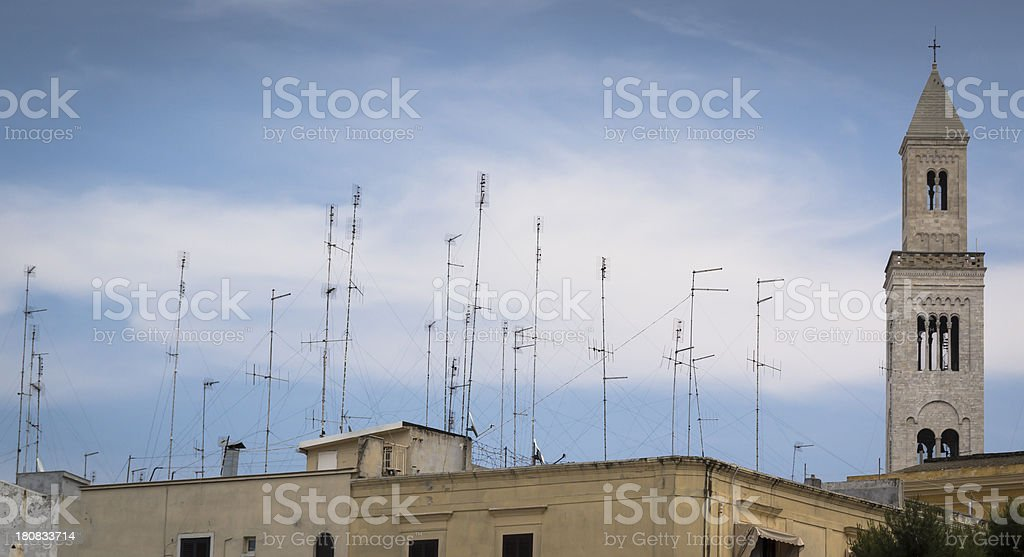 Antennas on the roofs of Bari royalty-free stock photo
