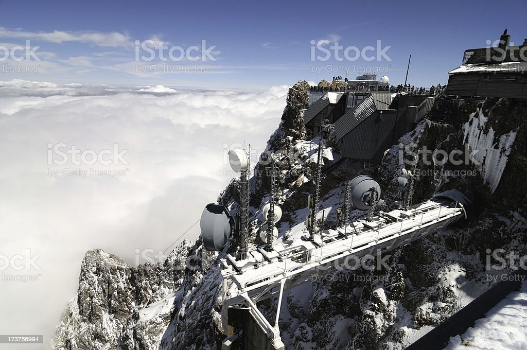 antennas on zugspitze mountain royalty-free stock photo