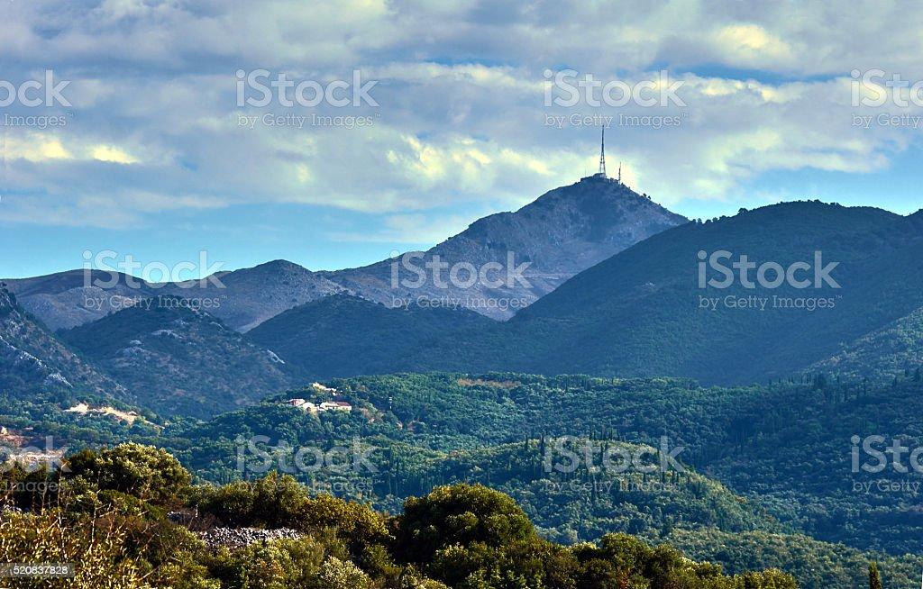 Antennas Telecommunication on top of the mountain Pantokrator stock photo