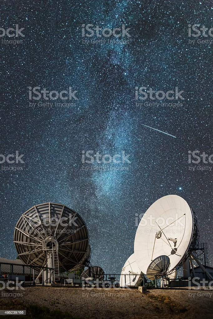 Antennas under the milky way stock photo