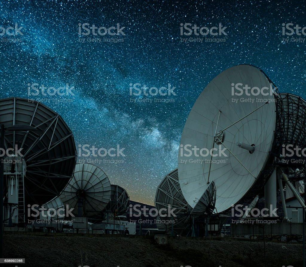 Antennas under the milky way stock photo