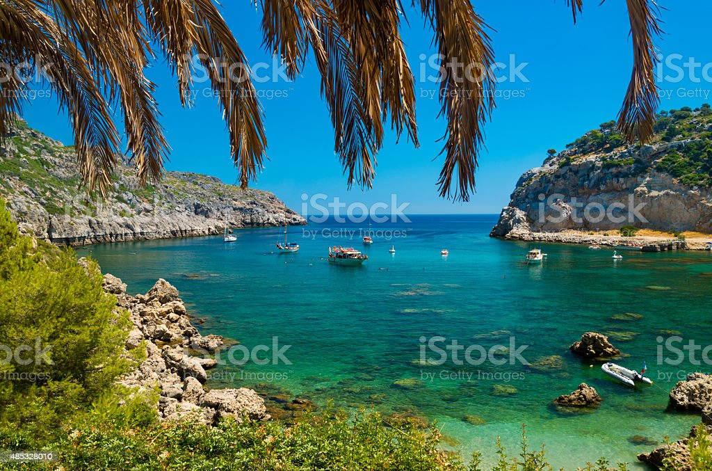 Anthony Quinn Bay on Rhodes stock photo