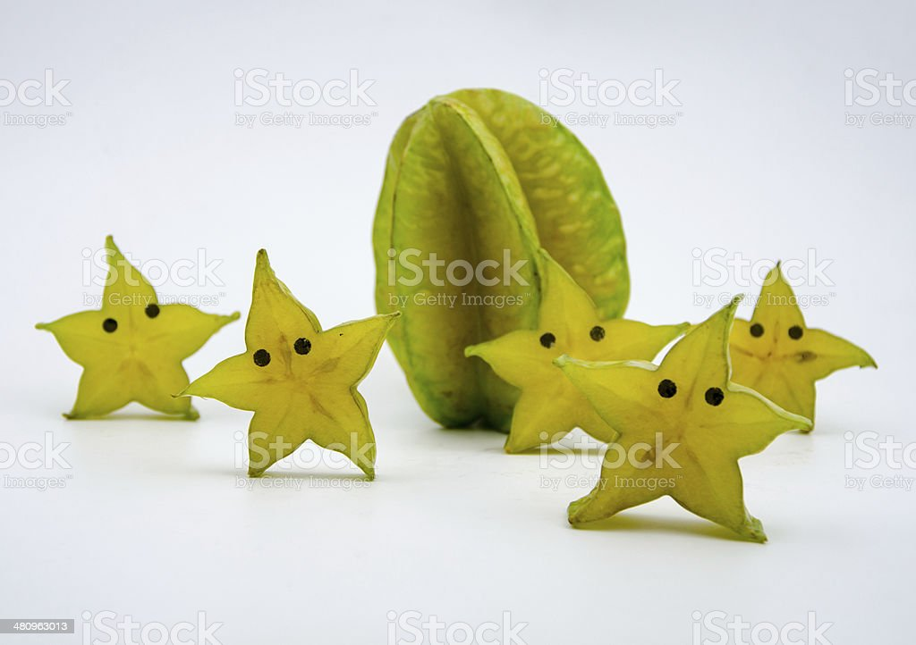 Anthropomorphic fruits? Sliced carambola, like a starfish. royalty-free stock photo