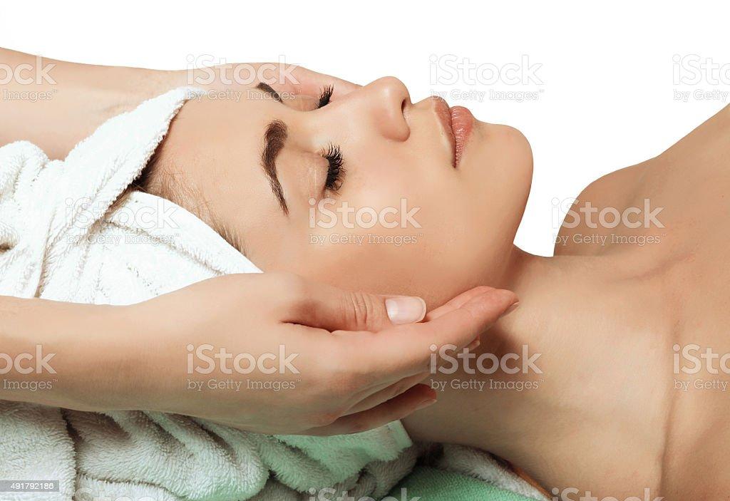anti aging facial massage stock photo