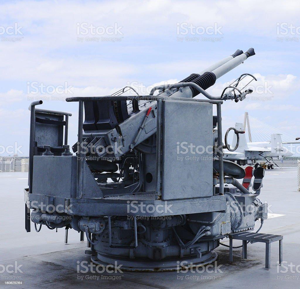 Anti Aircraft Gun on Carrier Deck stock photo