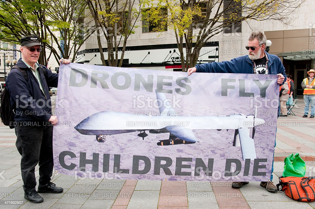 Anti Drone Protest royalty-free stock photo