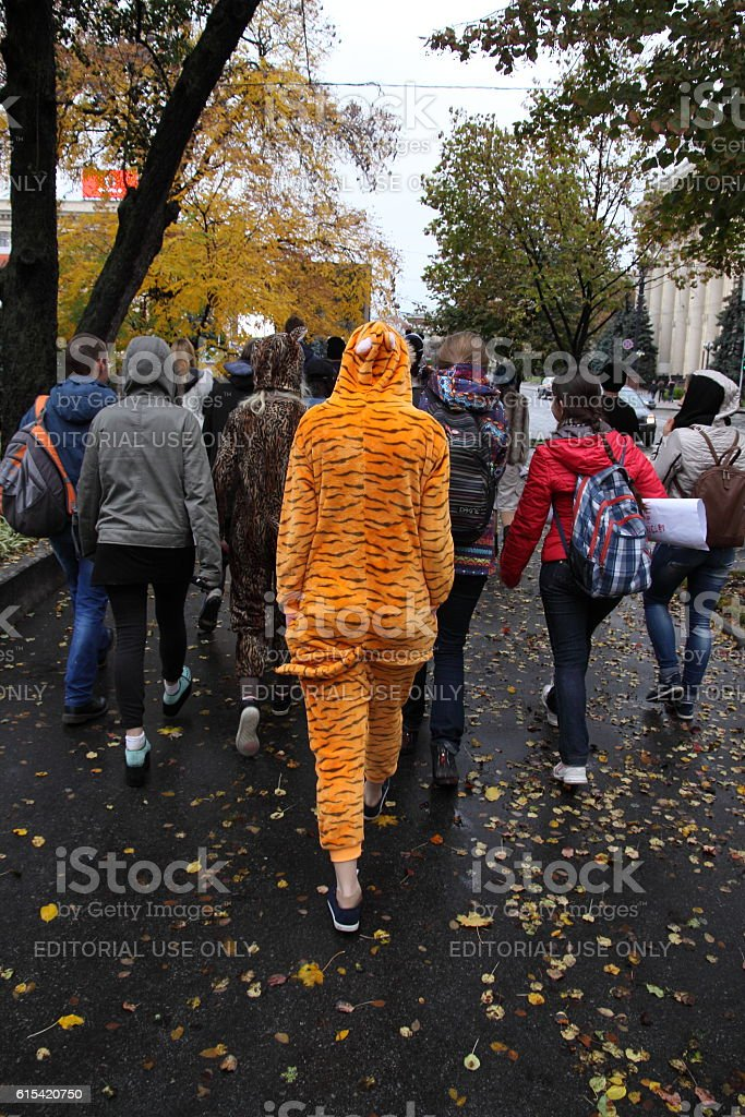 Anti fur march and performance stock photo