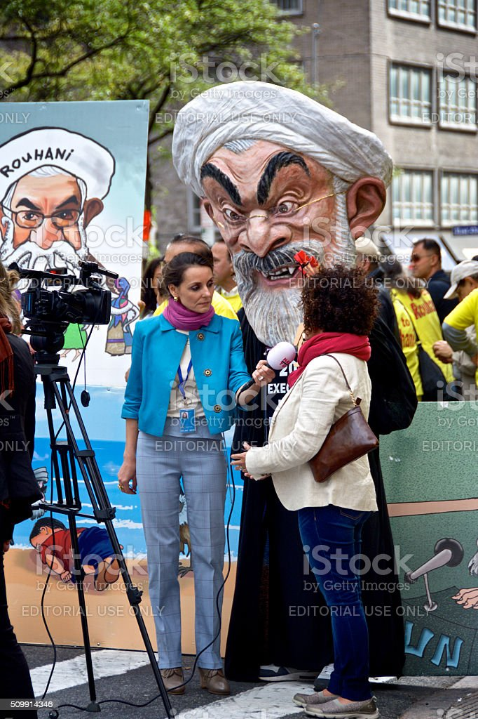 Anti Iran Demonstrators, Media during United Nations Assembly events, NYC stock photo