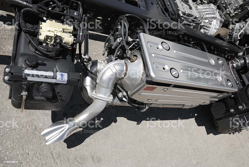 Anti polution system on truck. stock photo